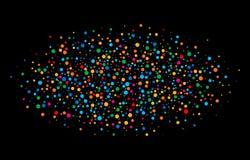 O arco-íris brilhante colorido colore papéis redondos dos confetes ovais da nuvem isolados no fundo preto Fotografia de Stock Royalty Free