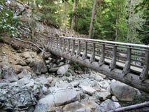 O arco-íris cai ponte de fuga do flanco Assobiador, Canadá fotografia de stock royalty free
