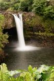 O arco-íris cai, rio perto de Hilo, Havaí de Wailuku Foto de Stock