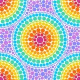 O arco-íris colore círculos concêntricos no teste padrão sem emenda do vetor do estilo da arte do ponto Foto de Stock Royalty Free