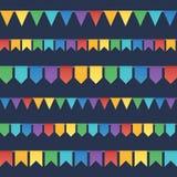O arco-íris colore festões lisas das bandeiras do feriado do estilo Fotografia de Stock Royalty Free