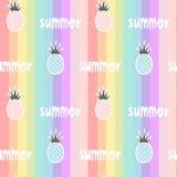 O arco-íris colorido listrou a ilustração sem emenda do fundo do teste padrão com os abacaxis e a mão tirados rotulando o verão d Foto de Stock