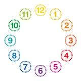 O arco-íris coloriu a face do relógio com horas uma doze ilustração royalty free