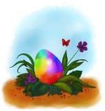 O arco-íris coloriu o ovo da páscoa que encontra-se na grama 2018 ilustração do vetor