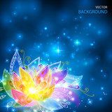 O arco-íris de brilho mágico colore a flor esotérico Foto de Stock