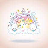 O arco-íris dos desenhos animados nubla-se a ilustração dos diamantes dos corações Fotografia de Stock