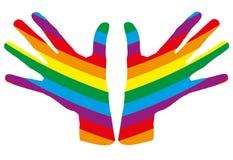 O arco-íris entrega a listra Fotografia de Stock Royalty Free