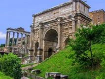 O arco de Septimius Severus - Roman Forum - Roma, Itália Imagem de Stock