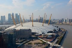O2 Arena at Greenwich, London, England. Aerial view Royalty Free Stock Images