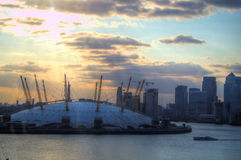 The O2 arena in Greenwich, London. The O2 arena during sunset in Greenwich, London Stock Photo