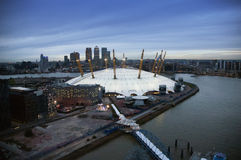O2 arena, Millennium Dome, London. London, United Kingdom - November 3, 2012: Aerial view of the O2 arena and financial district at twilight Stock Photos