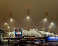 O2 arena in the night, London. UK Stock Image