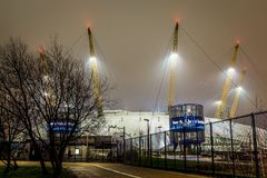 O2 arena in the night, London. UK Stock Images