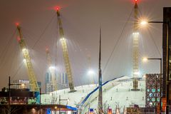 O2 arena in the night, London. UK Royalty Free Stock Photo