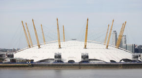 O2 Arena seen from sky. London , UK - May 26, 2013:  The Millennium Dome, also called O2 Arena, in the distance across the river Thames. The Dome, completed in Stock Photography