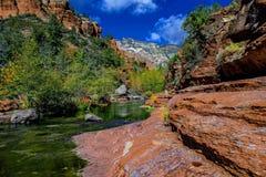 O Arizona, Sedona, parque estadual de SlideRock, na angra do carvalho Foto de Stock Royalty Free