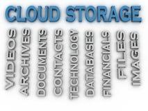 o armazenamento da nuvem da imagem 3d emite o fundo da nuvem da palavra do conceito Imagens de Stock
