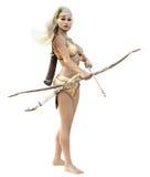 O arqueiro de madeira fêmea louro do duende da fantasia com posição da curva e da seta guarda em um fundo branco Fotografia de Stock Royalty Free