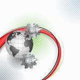 O arranjo elaborado com engrenagem, mundo imaginou como um mecanismo Imagem de Stock Royalty Free