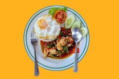 O arroz cobriu pela Agitar-galinha e pelo ovo frito com folhas da manjericão imagem de stock