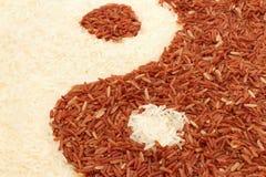 O arroz integral e o arroz do jasmim em yin-yang dão forma Imagens de Stock