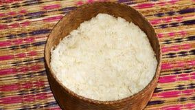 O arroz para povos tailandeses é chamado arroz pegajoso foto de stock