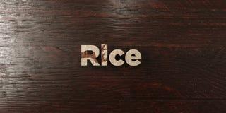 O arroz - título de madeira sujo no bordo - 3D rendeu a imagem conservada em estoque livre dos direitos Fotografia de Stock Royalty Free