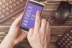 O artigo 13 a altera??o ? legisla??o de UE proibiu materiais dos meios no Internet imagem de stock