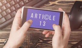 O artigo 13 a altera??o ? legisla??o de UE proibiu materiais dos meios no Internet imagens de stock