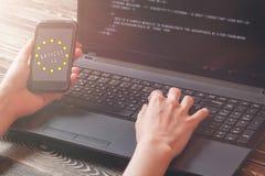 O artigo 13 a altera??o ? legisla??o de UE proibiu materiais dos meios no Internet fotografia de stock