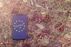 O artigo 13 a altera??o ? legisla??o de UE proibiu materiais dos meios no Internet fotos de stock royalty free