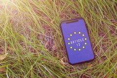 O artigo 13 a altera??o ? legisla??o de UE proibiu materiais dos meios no Internet foto de stock