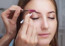 O artista de composição arranca suas sobrancelhas de uma jovem mulher em um salão de beleza imagem de stock