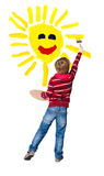 O artista novo pinta o sol Fotografia de Stock Royalty Free