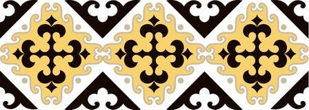 O asiático ornaments a coleção Historicamente ornamental de povos nômadas Baseou nos tapetes do real-Cazaque do feltro e das lãs ilustração do vetor