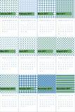 O aspargo e o índigo coloriram o calendário geométrico 2016 dos testes padrões ilustração stock