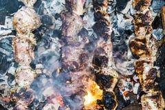 O assado do no espeto no carvão de pedra do forno dos espetos queimou-se Foto de Stock Royalty Free