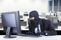 O assaltante masculino rouba dados no computador Foto de Stock Royalty Free