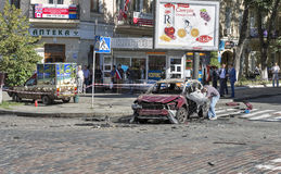 O assassinato de um journalista proeminente Pavel Sheremet em Kiev, Ucrânia Fotos de Stock Royalty Free