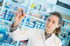 O assistente de laboratório da mulher tira um gráfico em um vidro Imagens de Stock Royalty Free