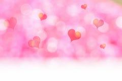 O assoalho branco com bokeh cor-de-rosa do coração e do borrão ilumina o fundo, Moc ilustração royalty free