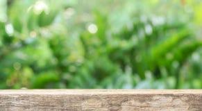 o assoalho de madeira com sumário borrou o fundo na natureza verde U Fotos de Stock Royalty Free
