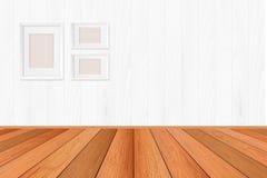 O assoalho de madeira textured o fundo do teste padrão na luz - tom marrom da cor com contexto branco vazio da parede: Assoalho d Imagens de Stock Royalty Free