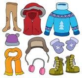 O assunto da roupa do inverno ajustou 2 ilustração royalty free