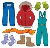 O assunto da roupa do inverno ajustou 1 ilustração do vetor