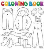 O assunto da roupa do inverno do livro para colorir ajustou 1 ilustração do vetor