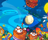 O assunto de estrangeiros - UFO - estrela - jardim de infância - menu - tela - espaço para o humor feliz e engraçado do texto - -  Imagens de Stock