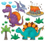 O assunto do dinossauro ajustou 2 ilustração stock