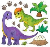 O assunto do dinossauro ajustou 5 ilustração royalty free
