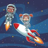 O astronauta caçoa desenhos animados Fotos de Stock Royalty Free
